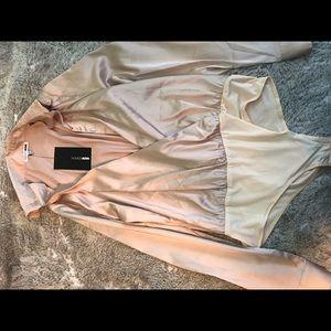 Silky nude blouse bodysuit
